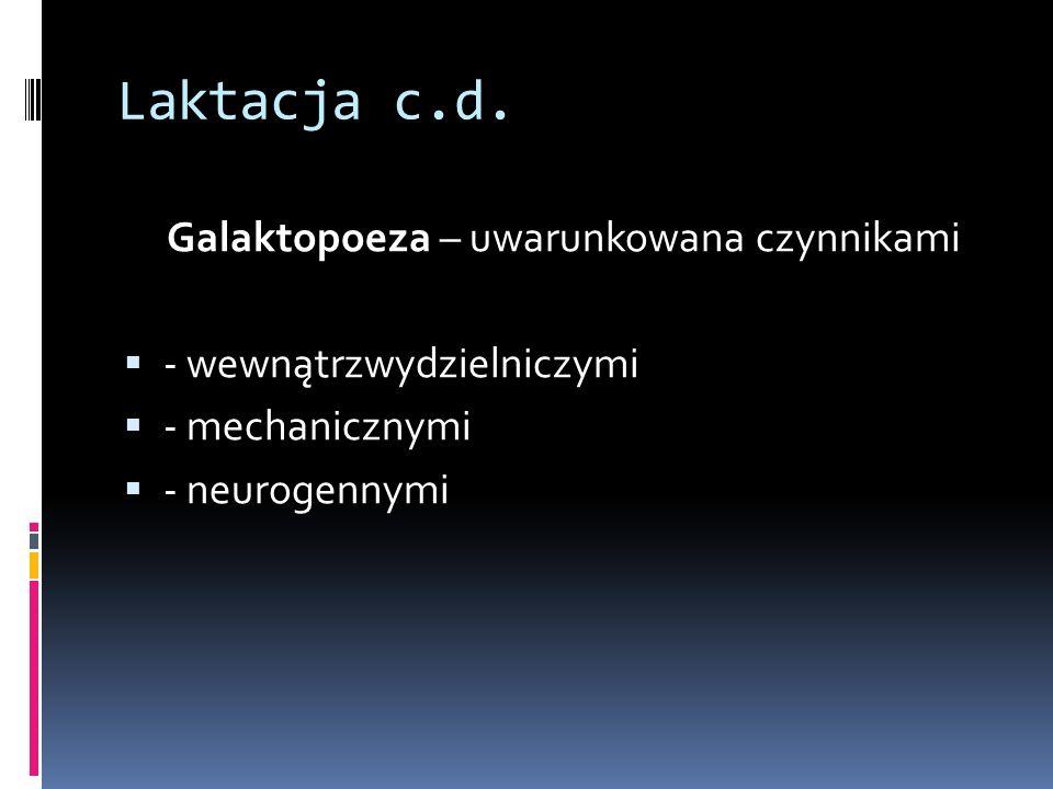 Laktacja c.d. Galaktopoeza – uwarunkowana czynnikami - wewnątrzwydzielniczymi - mechanicznymi - neurogennymi