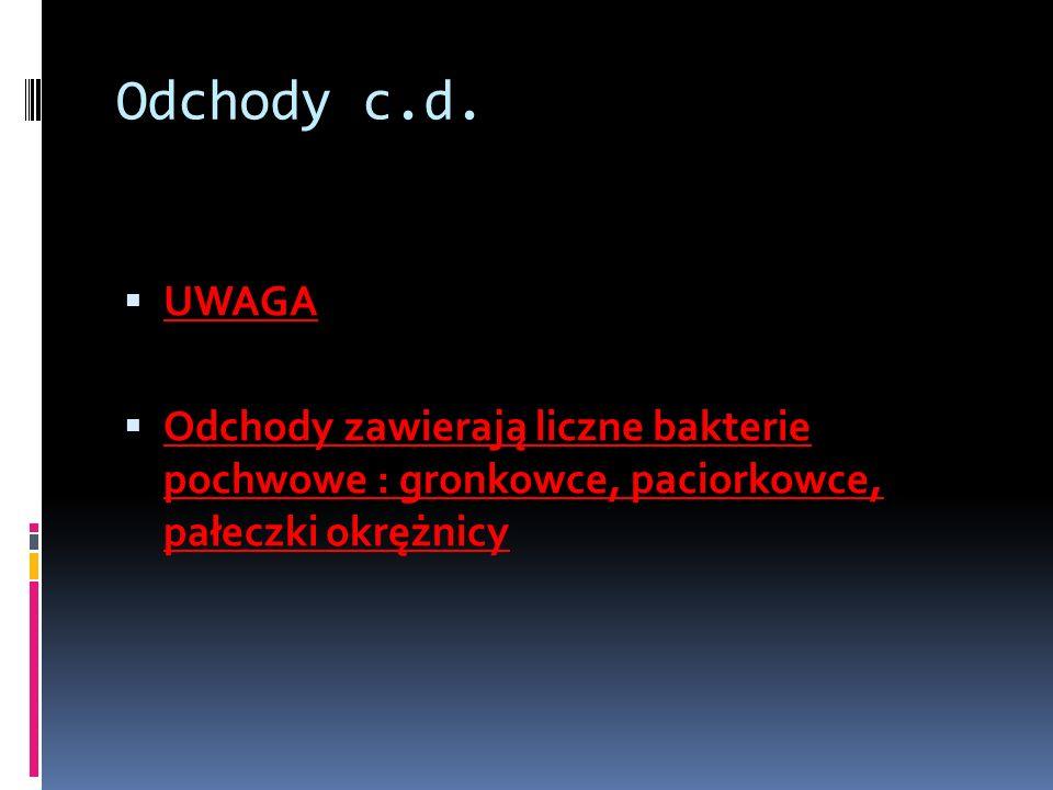 Odchody c.d. UWAGA Odchody zawierają liczne bakterie pochwowe : gronkowce, paciorkowce, pałeczki okrężnicy