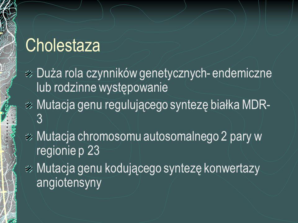 Cholestaza Duża rola czynników genetycznych- endemiczne lub rodzinne występowanie Mutacja genu regulującego syntezę białka MDR- 3 Mutacja chromosomu a