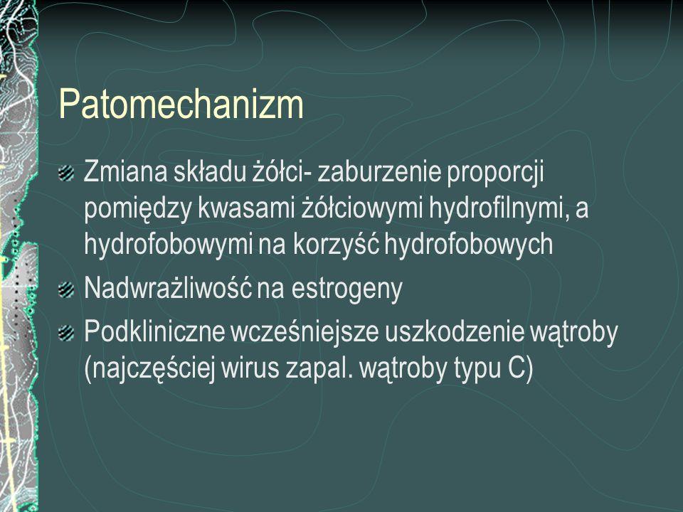 Cholestaza Czynniki niehormonalne: Obniżenie stężenia selenu w surowicy krwi Pojawienie się ciążowych kwasów żółciowych- specyficzne pochodne występujące jedynie podczas ciąży i znikające po jej ukończeniu (diagnostyka HPLC)
