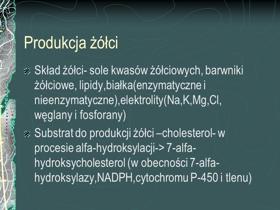 Kwasy żółciowe Zwiększają wrażliwość mięśni gładkich na oxytocynę (obniżenie progu pobudliwości komórki mięśnia,wzrost stężenia wapnia wewnątrzkomórkowego, wzrost ilości receptorów oxytocynowych) poród przedwczesny Pobudzają syntezę prostaglandyn poród przedwczesny Modyfikują syntezę sterydów Powodują pobudzenie perystaltyki jelit oddanie smółki obkurczanie naczyń, zespół aspiracji smółki