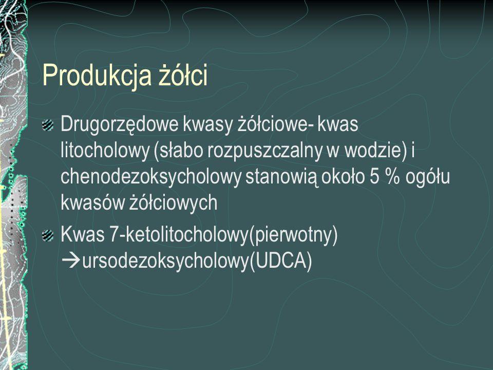 Produkcja żółci Drugorzędowe kwasy żółciowe- kwas litocholowy (słabo rozpuszczalny w wodzie) i chenodezoksycholowy stanowią około 5 % ogółu kwasów żół