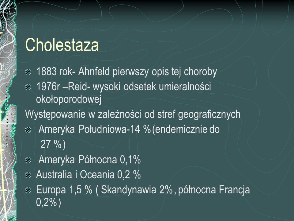 Cholestaza 1883 rok- Ahnfeld pierwszy opis tej choroby 1976r –Reid- wysoki odsetek umieralności okołoporodowej Występowanie w zależności od stref geog