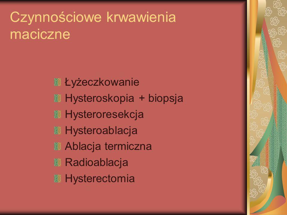 Mięśniaki macicy Laparoskopia diagnostyczna Laparoskopia operacyjna Hysteroskopia diagnostyczna Hysteroskopia operacyjna Wykręcenie mięśniaka rodzącego się Wyłuszczenie mięśniaka drogą laparotomii Hysterectomia przezbrzuszna albo przezpochwowa