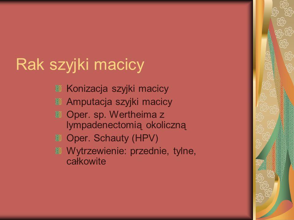 Rak szyjki macicy Konizacja szyjki macicy Amputacja szyjki macicy Oper. sp. Wertheima z lympadenectomią okoliczną Oper. Schauty (HPV) Wytrzewienie: pr