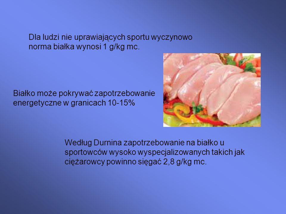 Dla ludzi nie uprawiających sportu wyczynowo norma białka wynosi 1 g/kg mc.