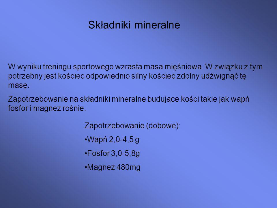 Składniki mineralne W wyniku treningu sportowego wzrasta masa mięśniowa.