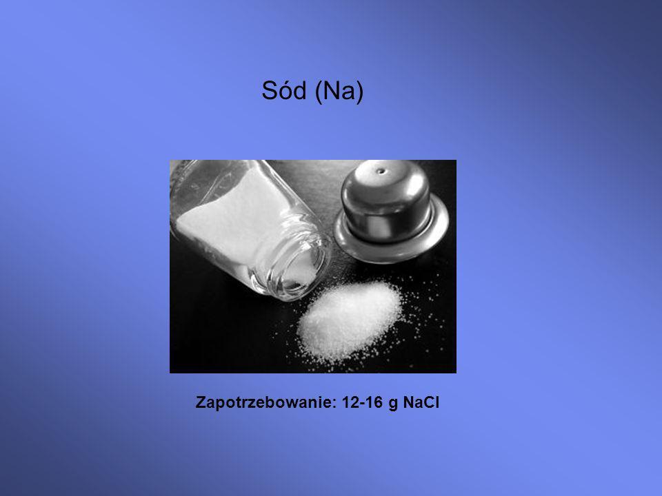 Sód (Na) Zapotrzebowanie: 12-16 g NaCl