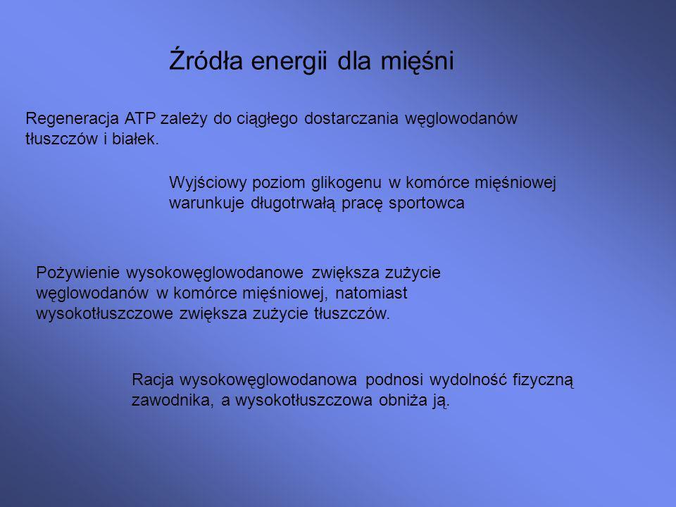 Źródła energii dla mięśni Regeneracja ATP zależy do ciągłego dostarczania węglowodanów tłuszczów i białek.