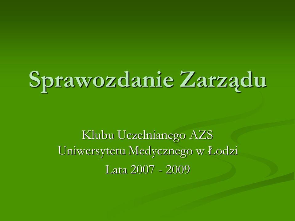 Sprawozdanie Zarządu Klubu Uczelnianego AZS Uniwersytetu Medycznego w Łodzi Lata 2007 - 2009