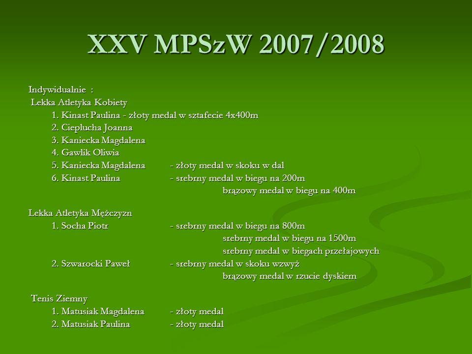XXV MPSzW 2007/2008 Indywidualnie : Lekka Atletyka Kobiety Lekka Atletyka Kobiety 1. Kinast Paulina- złoty medal w sztafecie 4x400m 1. Kinast Paulina-