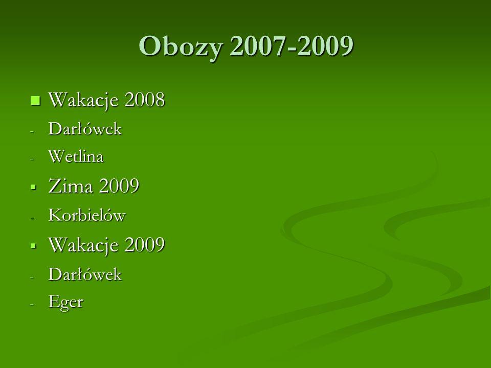 Obozy 2007-2009 Wakacje 2008 Wakacje 2008 - Darłówek - Wetlina Zima 2009 Zima 2009 - Korbielów Wakacje 2009 Wakacje 2009 - Darłówek - Eger