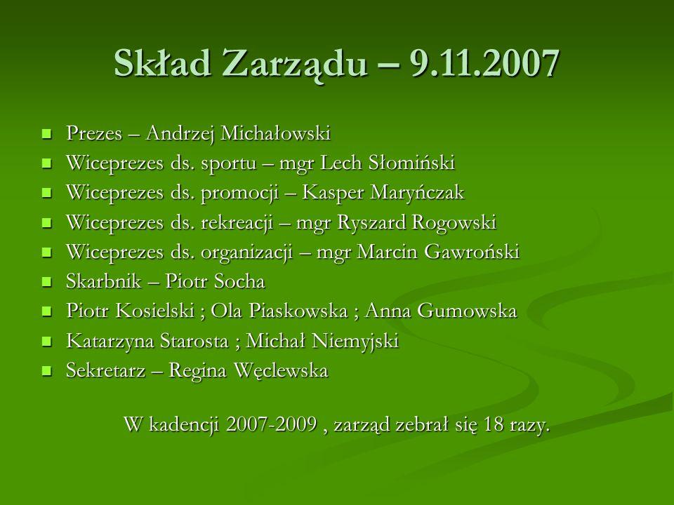 Skład Zarządu – 9.11.2007 Prezes – Andrzej Michałowski Prezes – Andrzej Michałowski Wiceprezes ds. sportu – mgr Lech Słomiński Wiceprezes ds. sportu –