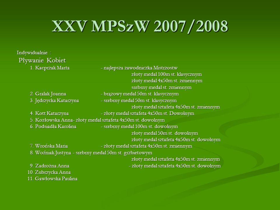 XXV MPSzW 2007/2008 Indywidualnie : Pływanie Kobiet Pływanie Kobiet 1. Kacprzak Marta- najlepsza zawodniczka Mistrzostw 1. Kacprzak Marta- najlepsza z