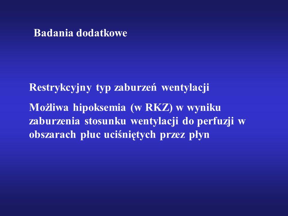 Restrykcyjny typ zaburzeń wentylacji Możliwa hipoksemia (w RKZ) w wyniku zaburzenia stosunku wentylacji do perfuzji w obszarach płuc uciśniętych przez