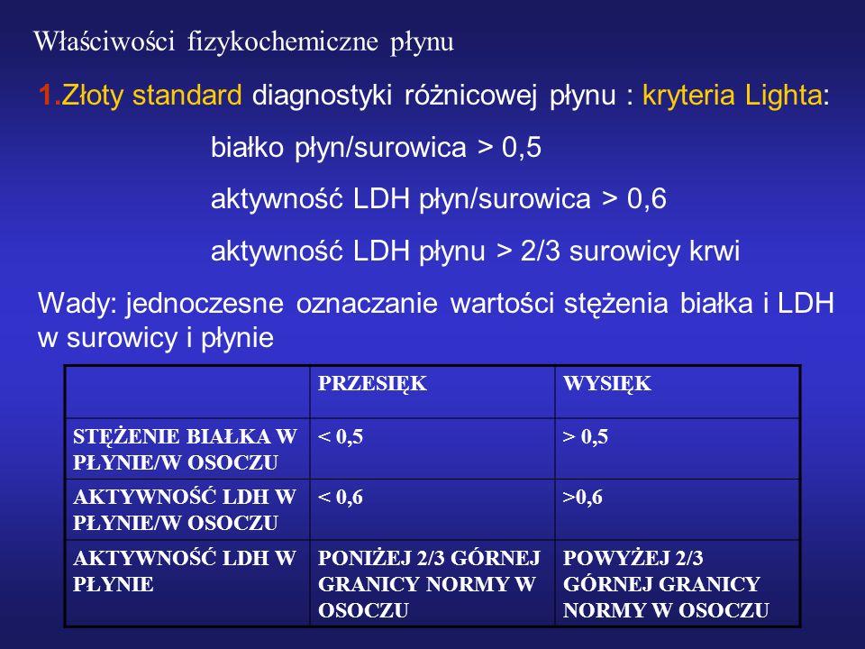 1.Złoty standard diagnostyki różnicowej płynu : kryteria Lighta: białko płyn/surowica > 0,5 aktywność LDH płyn/surowica > 0,6 aktywność LDH płynu > 2/