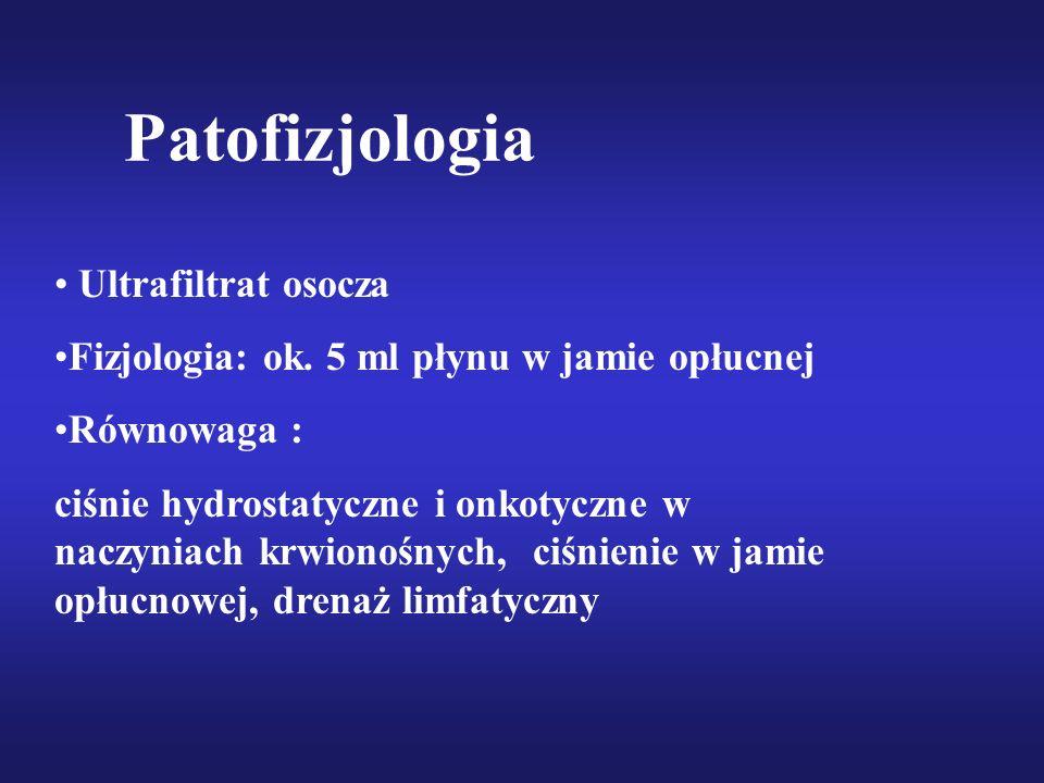 Patofizjologia Ultrafiltrat osocza Fizjologia: ok. 5 ml płynu w jamie opłucnej Równowaga : ciśnie hydrostatyczne i onkotyczne w naczyniach krwionośnyc