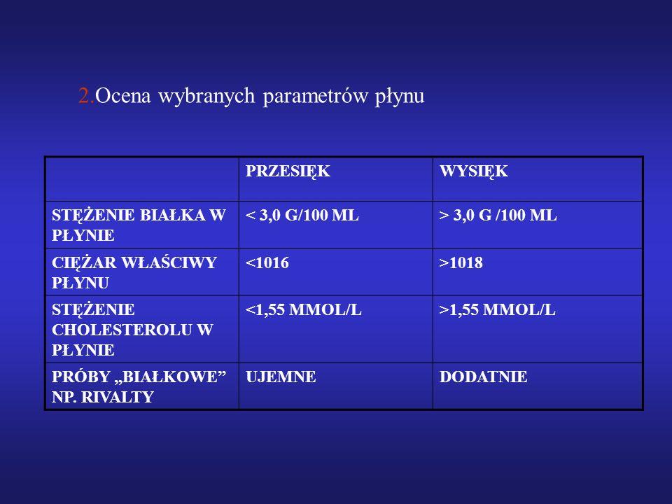 2.Ocena wybranych parametrów płynu PRZESIĘKWYSIĘK STĘŻENIE BIAŁKA W PŁYNIE < 3,0 G/100 ML> 3,0 G /100 ML CIĘŻAR WŁAŚCIWY PŁYNU <1016>1018 STĘŻENIE CHO