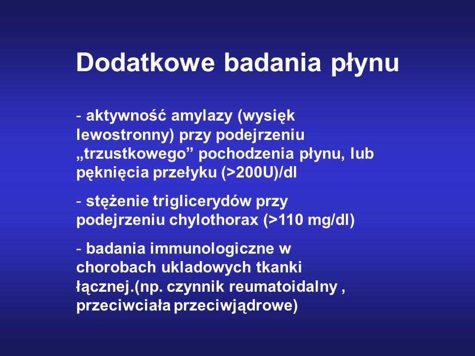 Dodatkowe badania płynu - aktywność amylazy (wysięk lewostronny) przy podejrzeniu trzustkowego pochodzenia płynu, lub pęknięcia przełyku (>200U)/dl -
