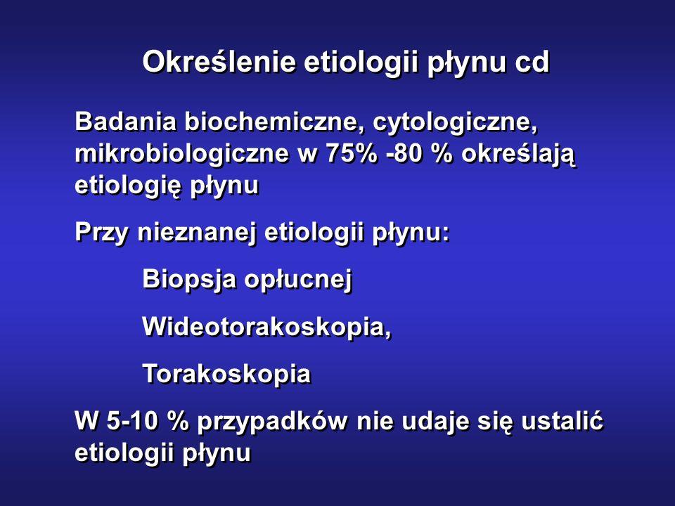 Określenie etiologii płynu cd Badania biochemiczne, cytologiczne, mikrobiologiczne w 75% -80 % określają etiologię płynu Przy nieznanej etiologii płyn