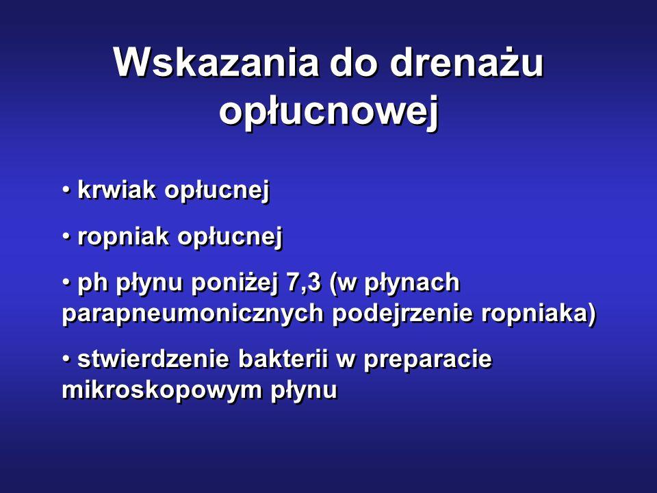Wskazania do drenażu opłucnowej krwiak opłucnej ropniak opłucnej ph płynu poniżej 7,3 (w płynach parapneumonicznych podejrzenie ropniaka) stwierdzenie