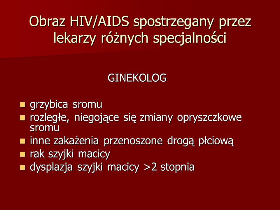 Obraz HIV/AIDS spostrzegany przez lekarzy różnych specjalności GINEKOLOG GINEKOLOG grzybica sromu grzybica sromu rozległe, niegojące się zmiany oprysz