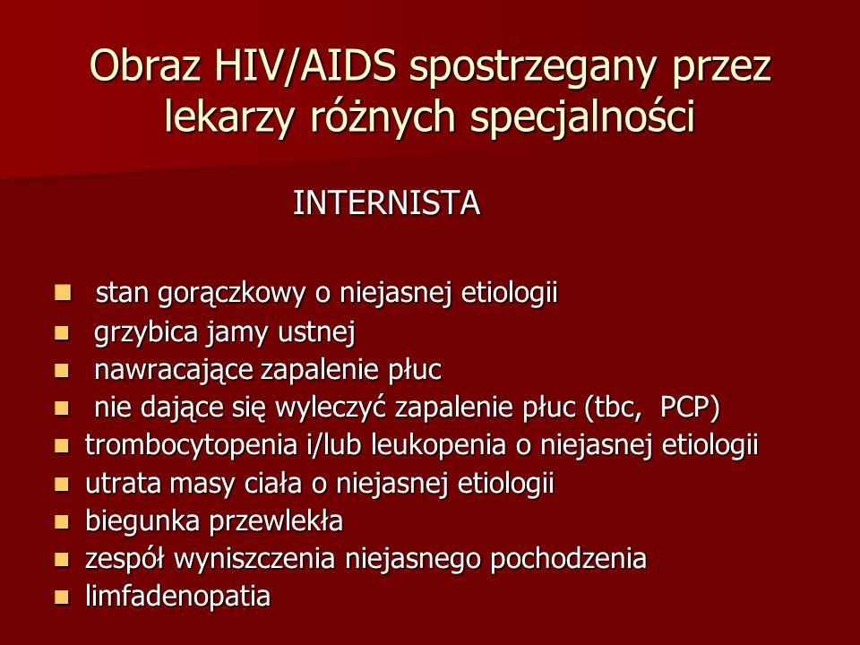 Obraz HIV/AIDS spostrzegany przez lekarzy różnych specjalności DERMATOLOG DERMATOLOG mięsak Kaposi`ego mięsak Kaposi`ego rozsiew łuszczycy rozsiew łuszczycy chłoniak skóry chłoniak skóry półpasiec>2 dermatomy/ nawracający półpasiec>2 dermatomy/ nawracający łojotokowe zapalenie skóry łojotokowe zapalenie skóry zakażenia przenoszone drogą płciową zakażenia przenoszone drogą płciową