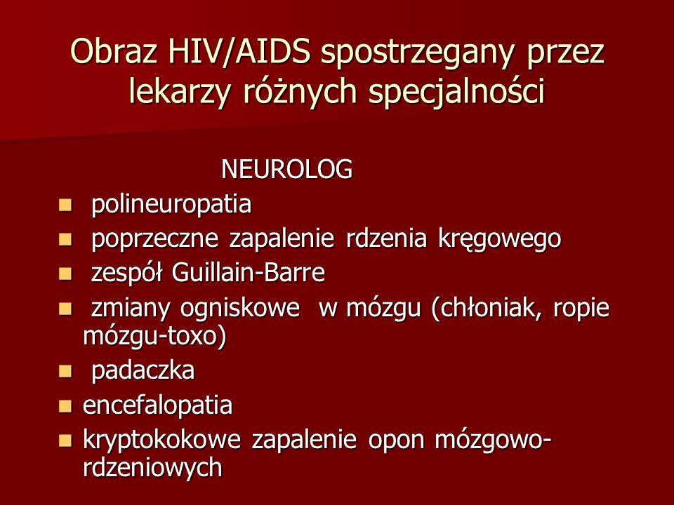 Obraz HIV/AIDS spostrzegany przez lekarzy różnych specjalności NEUROLOG NEUROLOG polineuropatia polineuropatia poprzeczne zapalenie rdzenia kręgowego