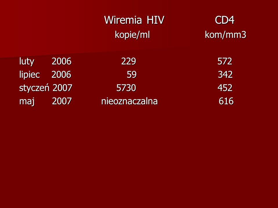 Wiremia HIV CD4 Wiremia HIV CD4 kopie/ml kom/mm3 kopie/ml kom/mm3 luty 2006 229 572 lipiec 2006 59 342 styczeń 2007 5730 452 maj 2007 nieoznaczalna 61