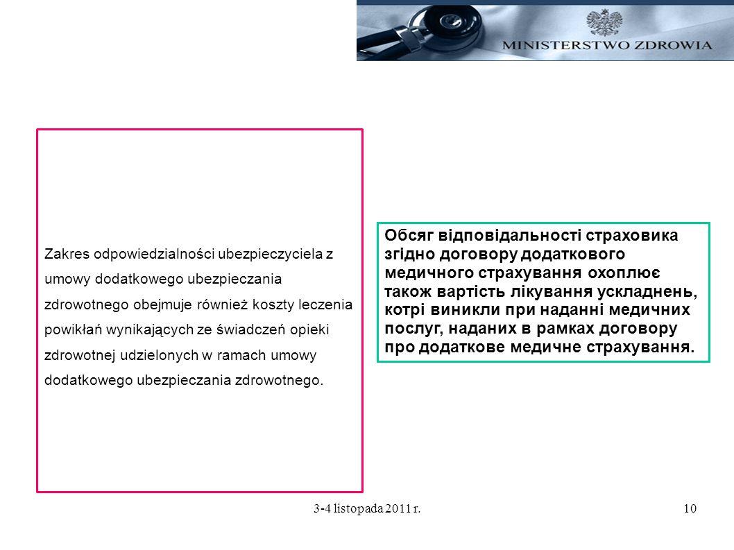 3-4 listopada 2011 r.10 Zakres odpowiedzialności ubezpieczyciela z umowy dodatkowego ubezpieczania zdrowotnego obejmuje również koszty leczenia powikł