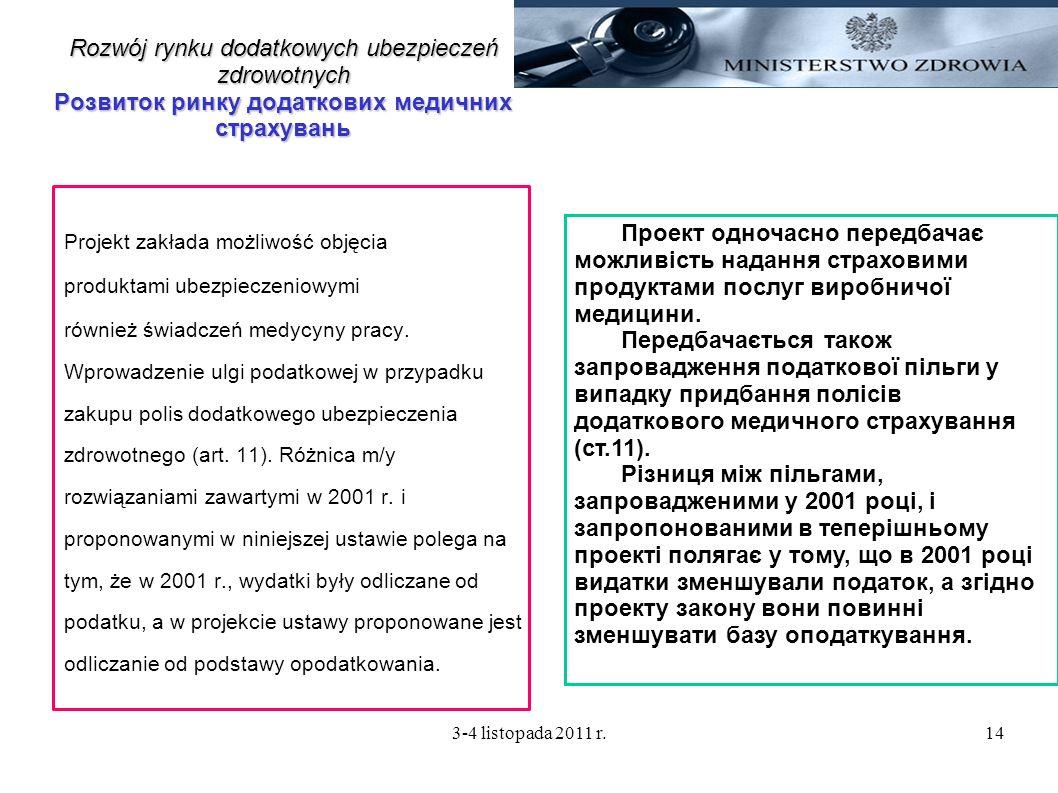 3-4 listopada 2011 r.14 Rozwój rynku dodatkowych ubezpieczeń zdrowotnych Розвиток ринку додаткових медичних страхувань Projekt zakłada możliwość objęc