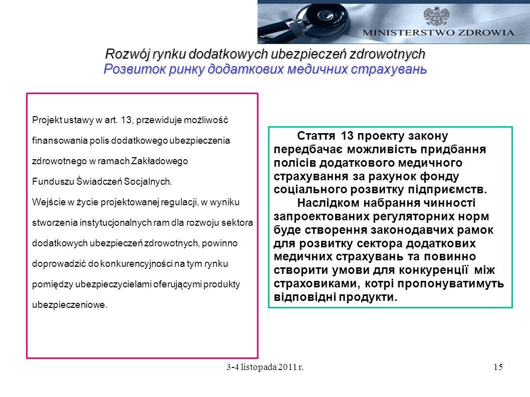 3-4 listopada 2011 r.15 Rozwój rynku dodatkowych ubezpieczeń zdrowotnych Розвиток ринку додаткових медичних страхувань Projekt ustawy w art. 13, przew