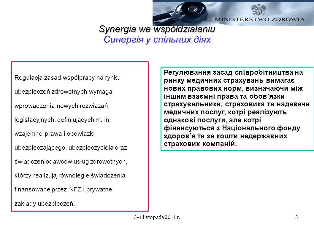 3-4 listopada 2011 r.3 Synergia we współdziałaniu Синергія у спільних діях Regulacja zasad współpracy na rynku ubezpieczeń zdrowotnych wymaga wprowadz