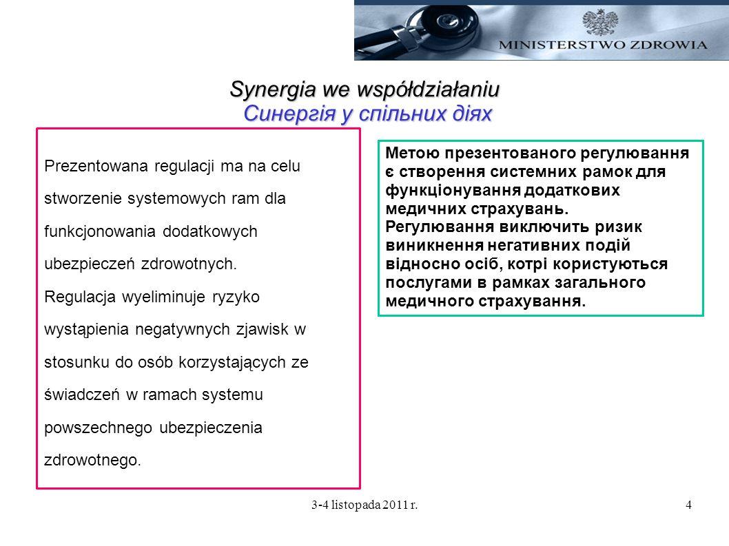 3-4 listopada 2011 r.4 Synergia we współdziałaniu Синергія у спільних діях Prezentowana regulacji ma na celu stworzenie systemowych ram dla funkcjonow