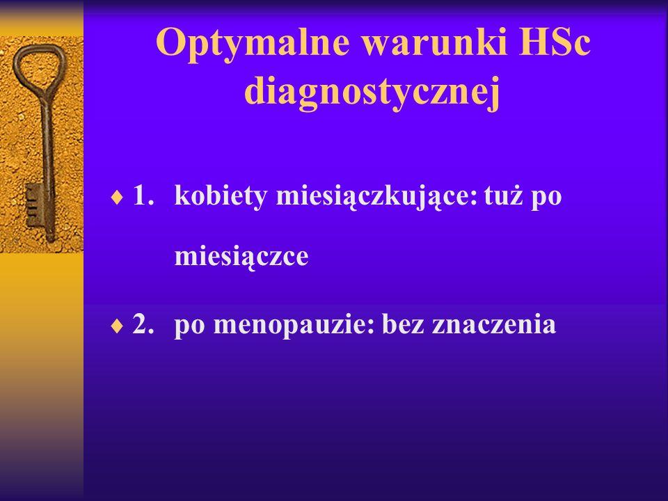 Optymalne warunki HSc diagnostycznej 1.kobiety miesiączkujące: tuż po miesiączce 2.po menopauzie: bez znaczenia