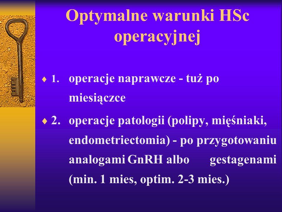 Optymalne warunki HSc operacyjnej 1. operacje naprawcze - tuż po miesiączce 2.operacje patologii (polipy, mięśniaki, endometriectomia) - po przygotowa
