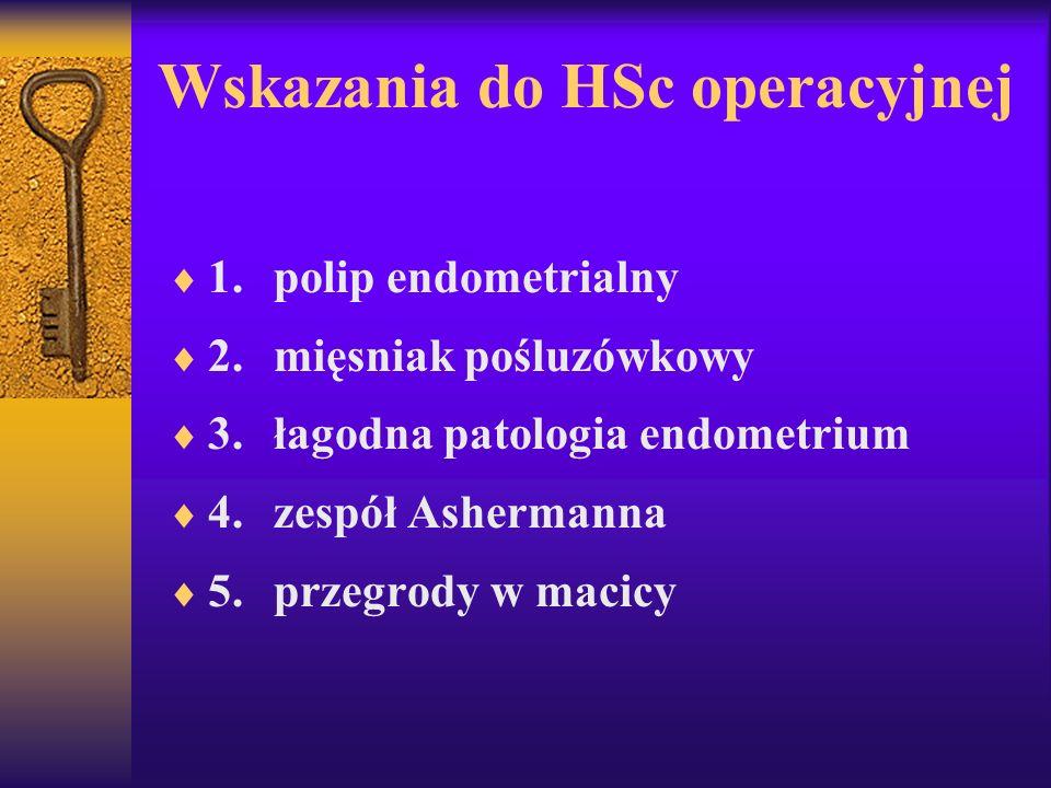 Wskazania do HSc operacyjnej 1.polip endometrialny 2.mięsniak pośluzówkowy 3.łagodna patologia endometrium 4.zespół Ashermanna 5.przegrody w macicy