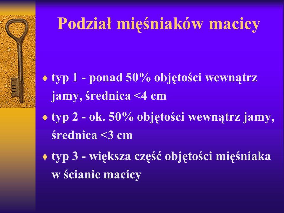 Podział mięśniaków macicy typ 1 - ponad 50% objętości wewnątrz jamy, średnica <4 cm typ 2 - ok. 50% objętości wewnątrz jamy, średnica <3 cm typ 3 - wi