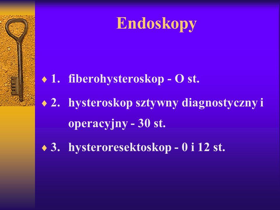 Endoskopy 1.fiberohysteroskop - O st. 2.hysteroskop sztywny diagnostyczny i operacyjny - 30 st. 3.hysteroresektoskop - 0 i 12 st.