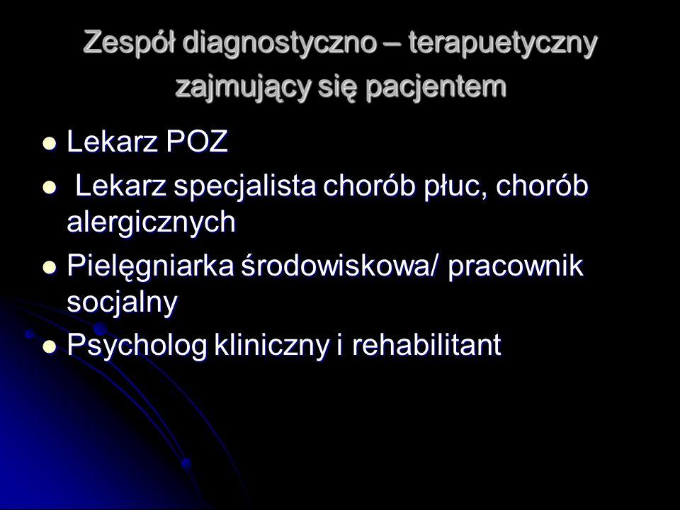 Zespół diagnostyczno – terapuetyczny zajmujący się pacjentem Lekarz POZ Lekarz POZ Lekarz specjalista chorób płuc, chorób alergicznych Lekarz specjali
