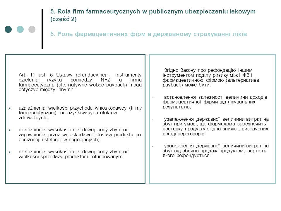 5. Rola firm farmaceutycznych w publicznym ubezpieczeniu lekowym (część 2) 5.
