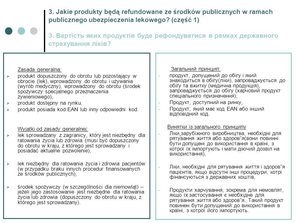 3. Jakie produkty będą refundowane ze środków publicznych w ramach publicznego ubezpieczenia lekowego? (część 1) 3. Вартість яких продуктів буде рефон