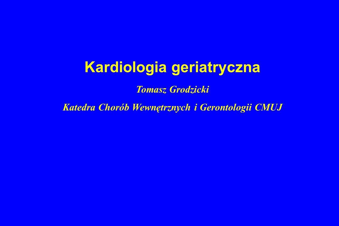 ACE inhibitoryw CAD Poprawa funkcji rozkurczowej LK, masy LK, hamują przebudowę, śmiertelności po zawale i ryzyka ponownego zawału Stosować szczególnie u chorych po zawale ściany przedniej, z niewydolnością serca, EF < 40%, EUROPA – stabilna IHD Hipotonia, kontrola czynności nerek, stężenia potasu
