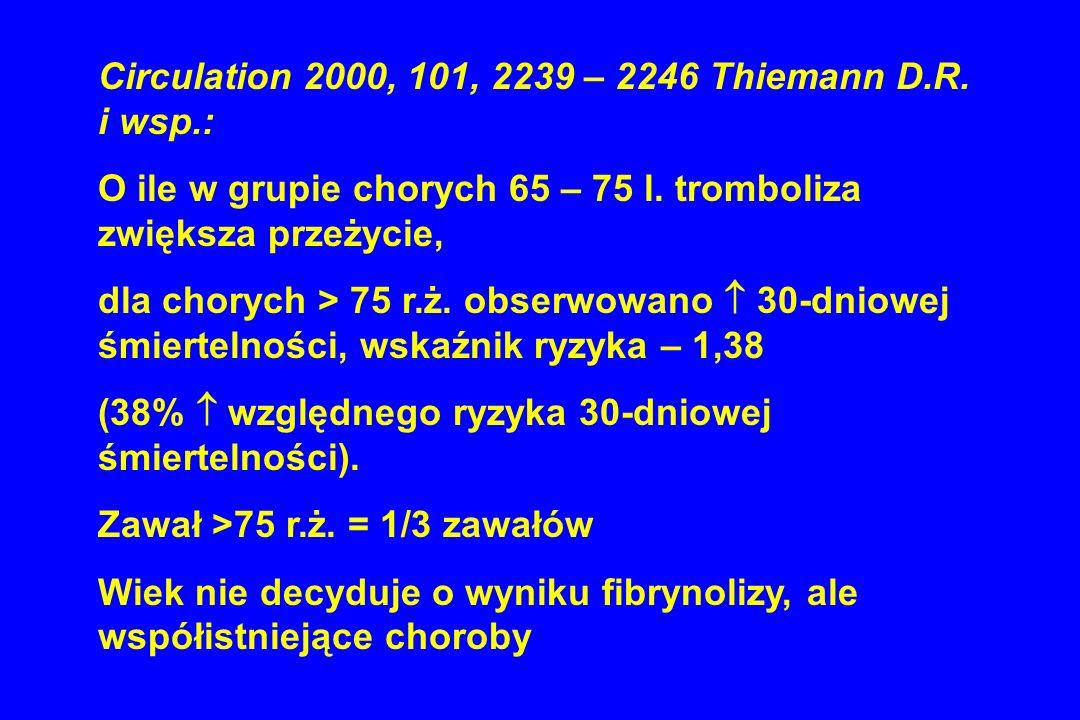 Circulation 2000, 101, 2239 – 2246 Thiemann D.R. i wsp.: O ile w grupie chorych 65 – 75 l. tromboliza zwiększa przeżycie, dla chorych > 75 r.ż. obserw