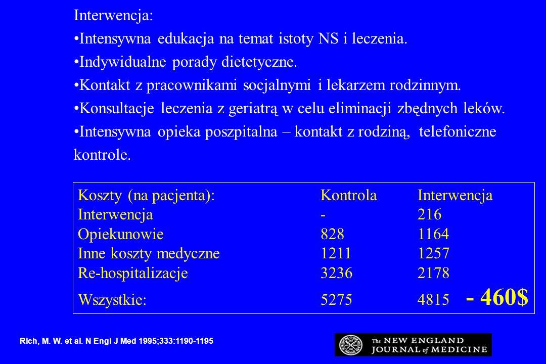 Interwencja: Intensywna edukacja na temat istoty NS i leczenia. Indywidualne porady dietetyczne. Kontakt z pracownikami socjalnymi i lekarzem rodzinny