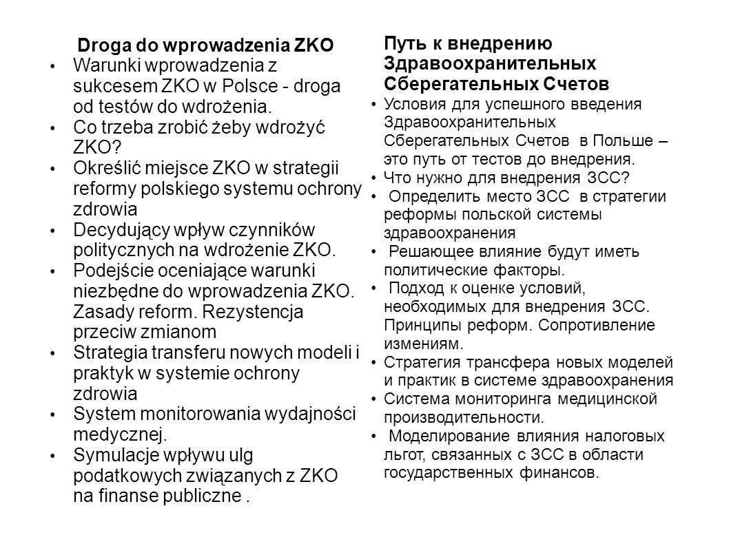 Droga do wprowadzenia ZKO Warunki wprowadzenia z sukcesem ZKO w Polsce - droga od testów do wdrożenia.