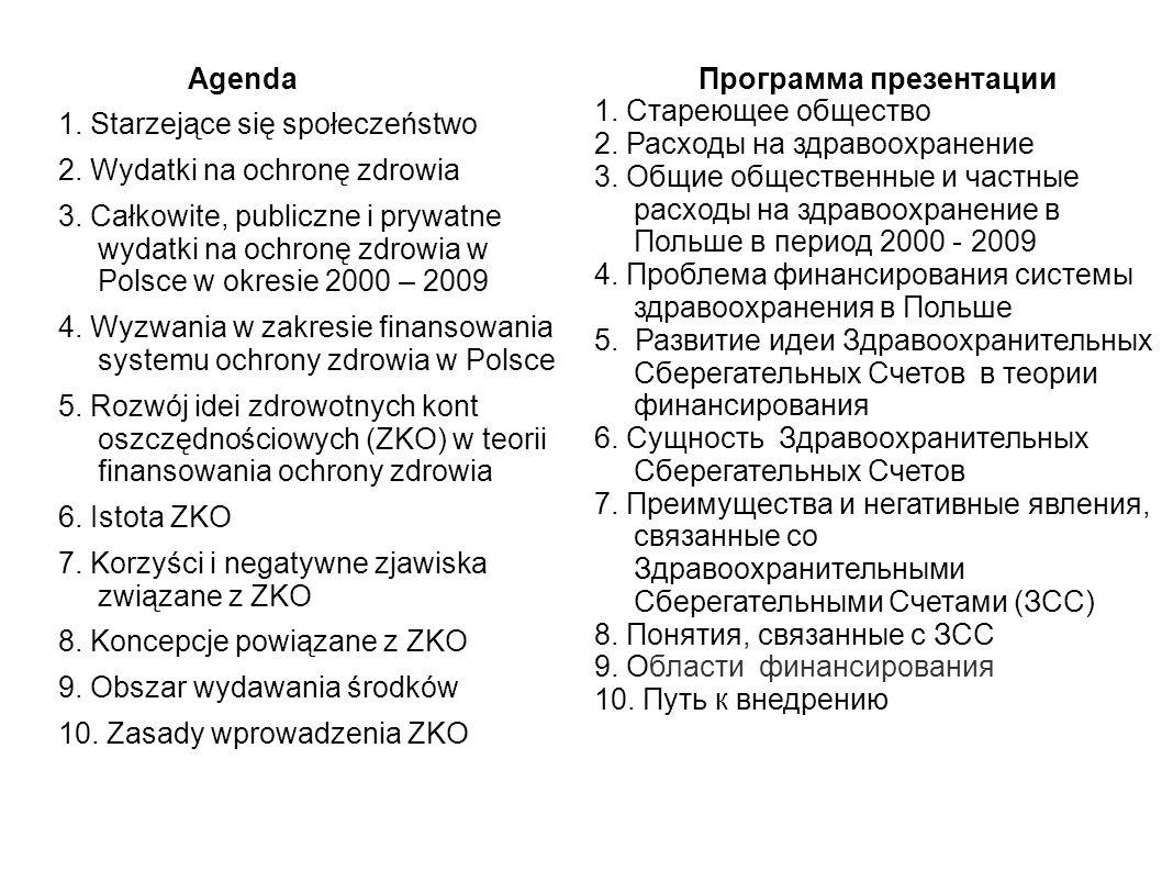 Agenda 1. Starzejące się społeczeństwo 2. Wydatki na ochronę zdrowia 3.