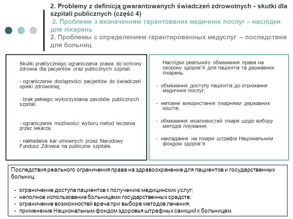 Skutki praktycznego ograniczania prawa do ochrony zdrowia dla pacjentów oraz publicznych szpitali: - ograniczenie dostępności pacjentów do świadczeń o