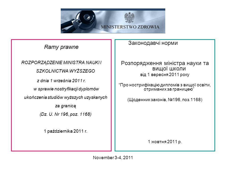 November 3-4, 2011 Ramy prawne ROZPORZĄDZENIE MINISTRA NAUKI I SZKOLNICTWA WYŻSZEGO z dnia 1 września 2011 r. w sprawie nostryfikacji dyplomów ukończe