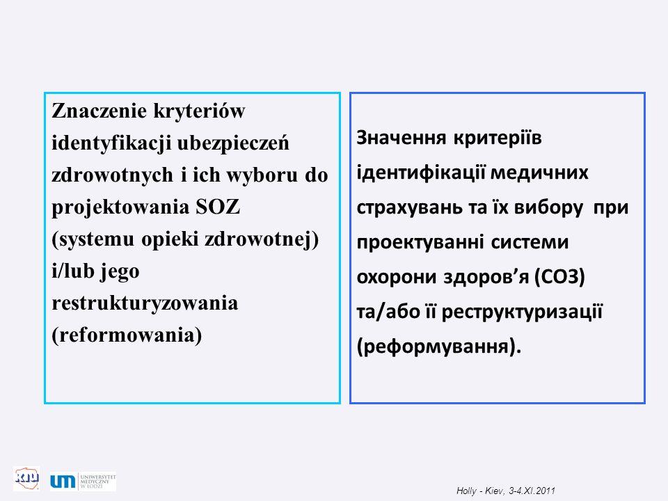 Znaczenie kryteriów identyfikacji ubezpieczeń zdrowotnych i ich wyboru do projektowania SOZ (systemu opieki zdrowotnej) i/lub jego restrukturyzowania